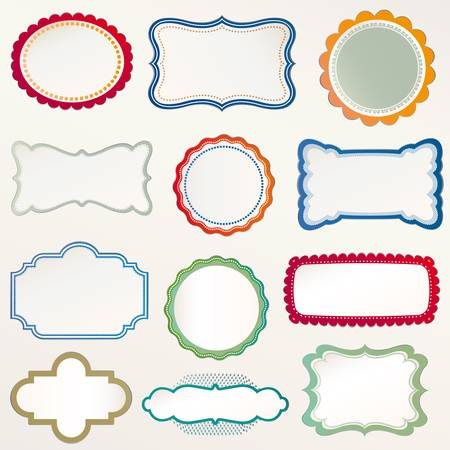 rounded squares: Vector Frame Set ornamental vintage decoration