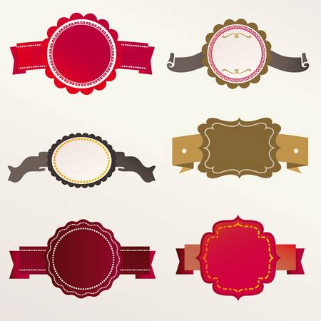 Set of retro ribbons and labels. Vector illustration. Vector