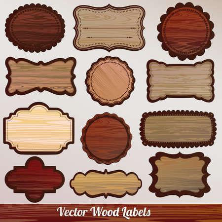 label: Vector houten label set sier vintage Stock Illustratie