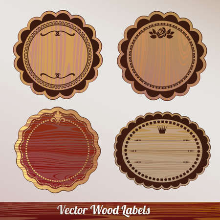 Vector wooden label Set ornamental vintage Vector