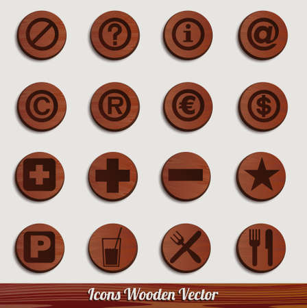 dark wooden icon set with different signs Stock Vector - 14981472