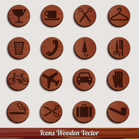 dark wooden icon set with different signs Stock Vector - 14981476
