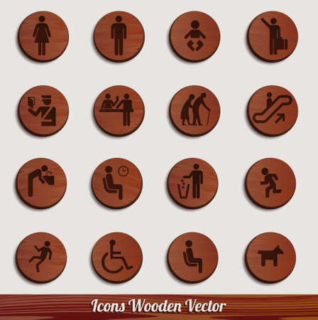 dark wooden icon set with different signs Vector