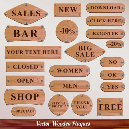 plaques wooden set Vector