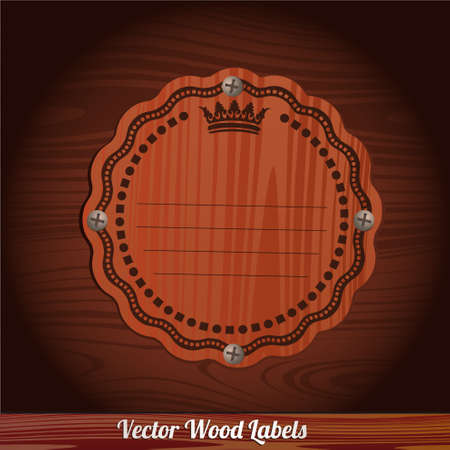 knickknack: vector wooden plaque nailed to a wooden background