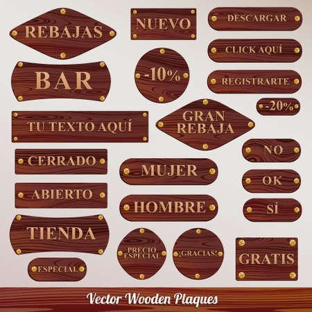 wooden plaque: Set vector Wooden plaque