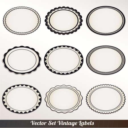 an oval: Frame Vector Set decoración ornamental vendimia
