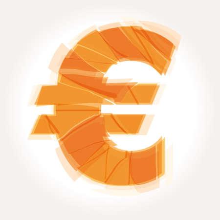 broken down: cracked euro symbol  Illustration