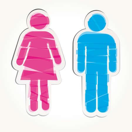simbolo de la mujer: Señal de color macho y hembra