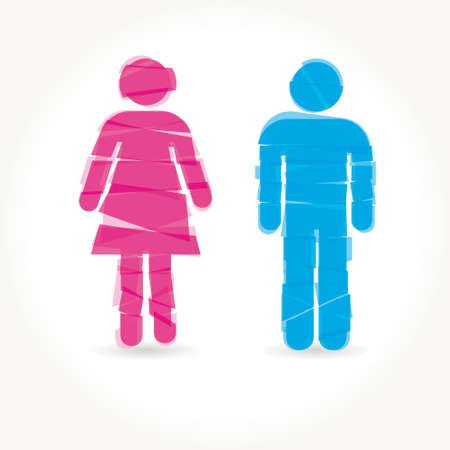 unisex: Colored male and female sign