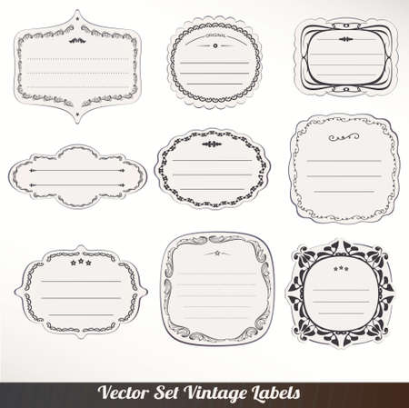 Vector Frame labels Set ornamental vintage decoration Vector