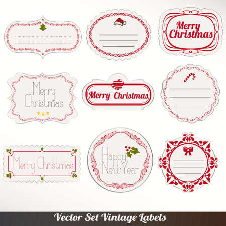paper textures: Set of vector Christmas ribbons, old dirty paper textures and vintage new year labels. Elements for Xmas design Illustration