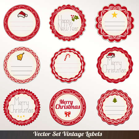Set of vector Christmas ribbons, old dirty paper textures and vintage new year labels. Elements for Xmas design Vector