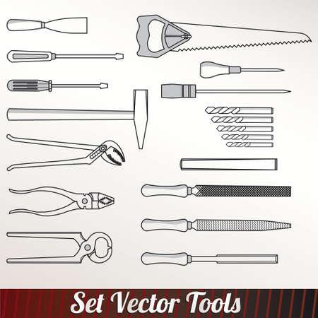 serrucho: Catálogo de herramientas de trabajo establecido Vectores