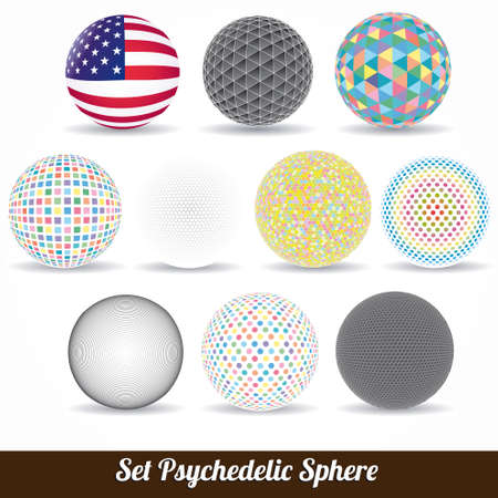 set of vector color psychedelic spheres  Vector
