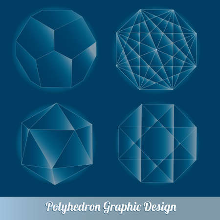 the polyhedron: Set vector polyhedron for graphic design