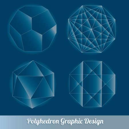 tetrahedron: Set vector polyhedron for graphic design