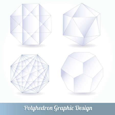 tetraedro: Set vettore poliedro per la progettazione grafica