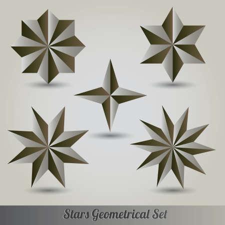 pentagon: Stars 3d vector set