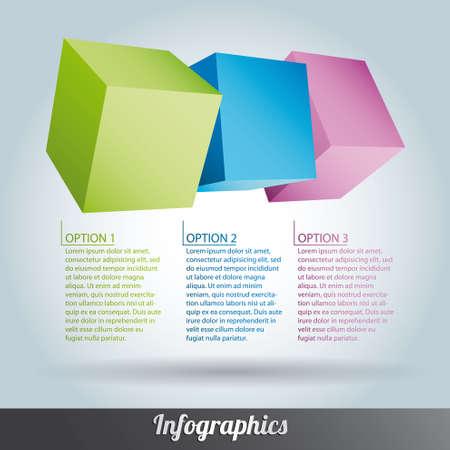 accumulation: Cube infographics vector Illustration