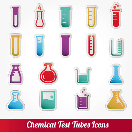 vaso de precipitado: Tubos de ensayo qu�mico iconos ilustraci�n