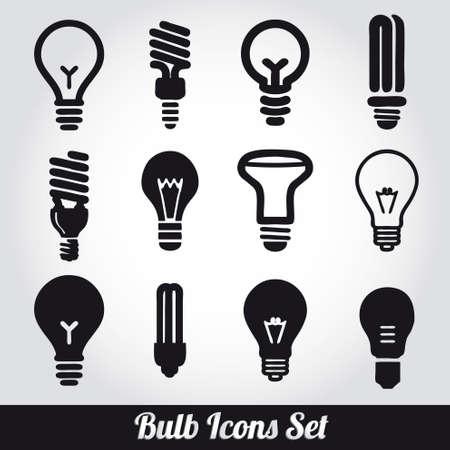 bulb icon: Light bulbs. Bulb icon set