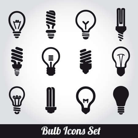 shining light: Bombillas. Bombilla icono conjunto