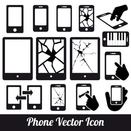 mobile communication: Phone touch  communication icons Illustration