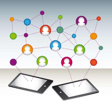 net meeting: social media connection vector Illustration