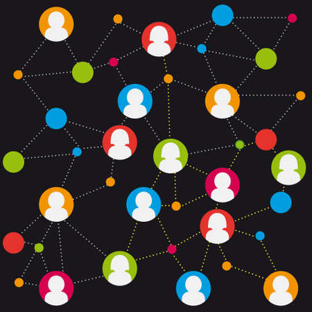 net meeting: colorful social media connection stock Illustration