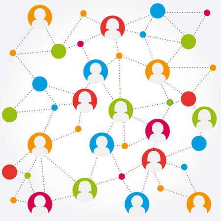 컬러 풀 한 소셜 미디어의 연결 stock
