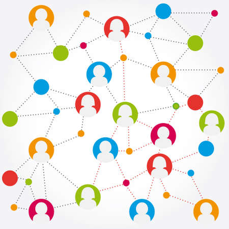 colorful social media connection stock Illustration