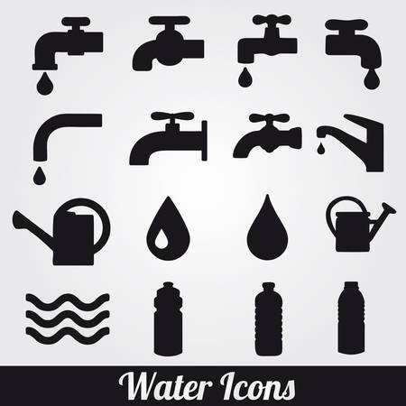 drops of water: Water related icons set. Illustration