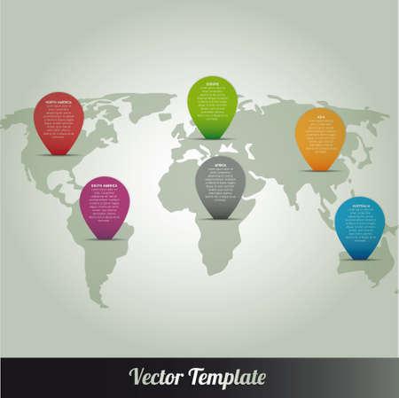 world maps: Information Continent Global World Map Illustration