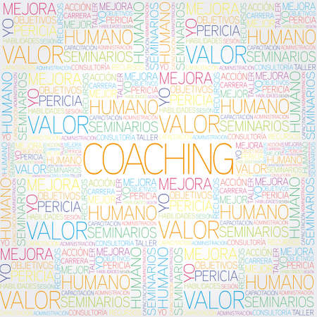 Coaching concept related spanish words in tag cloud Stock Vector - 20568010