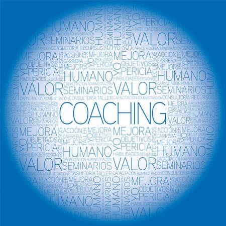 inspirerend: Coaching begrip gerelateerd woorden in Tag-wolk Stock Illustratie