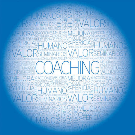 Coaching concept related words in tag cloud Vectores