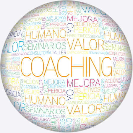 Coaching concept related spanish words in tag cloud Stock Vector - 20234060