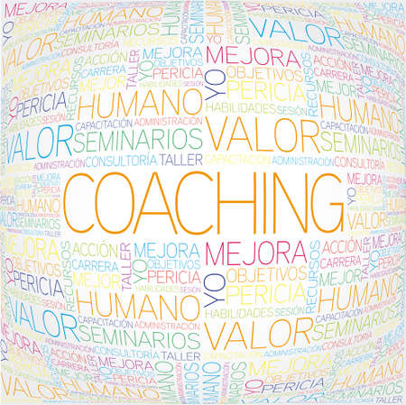 word clouds: Coaching concept related spanish words in tag cloud