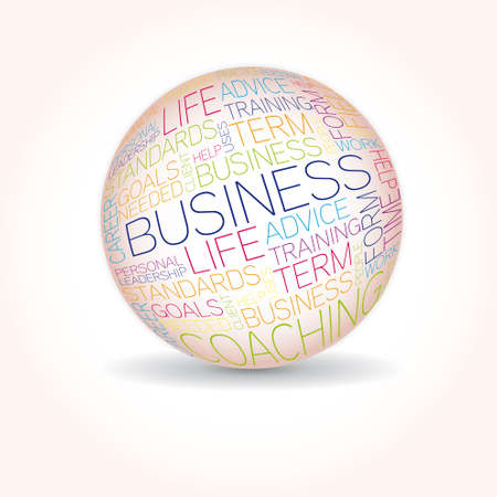 Business concept related words in sphere tag cloud isolated on white Stock Vector - 20234047