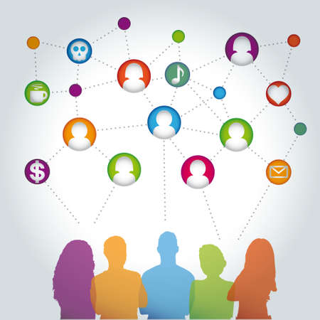 gente comunicandose: Las personas se comunican vector medios de comunicaci�n social,