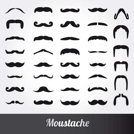 handlebar: Set of mustache vector