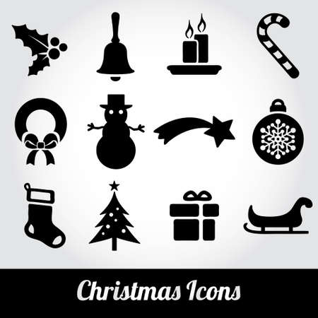 muerdago: Navidad y del invierno Iconos colecci?n - vector silueta