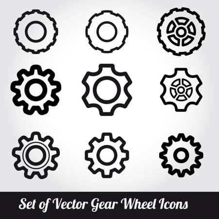 Tandwielen iconen vector set Stockfoto - 24601943