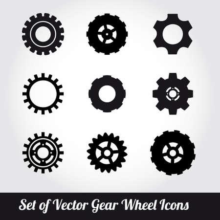 Tandwielen iconen vector set