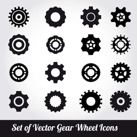 toothed: Gear wheels icons vector set  Illustration