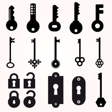 Icon Key, Black Silhouette Vector, decorative items Illustration