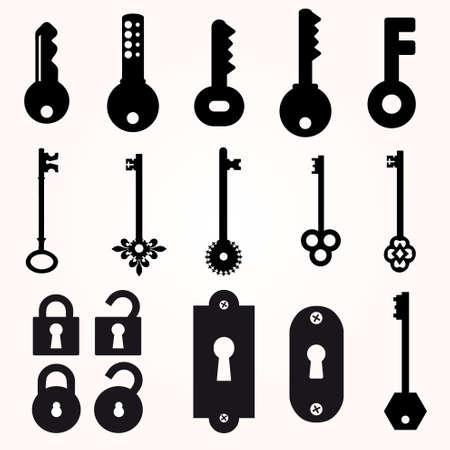 passkey: Icon Key, Black Silhouette Vector, decorative items Illustration