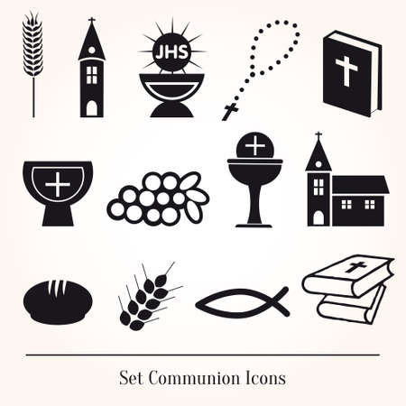 Set Illustration of a communion depicting traditional Christian Vectores
