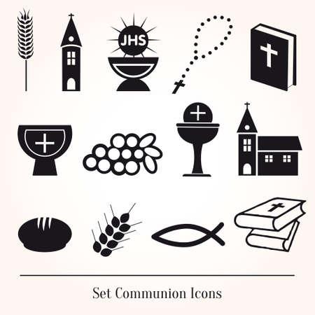 eucharistie: Réglez illustration d'une communion représentant chrétienne traditionnelle